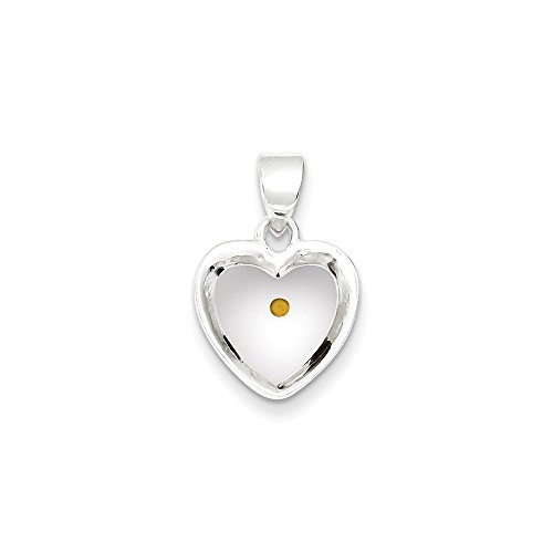 - Sterling Silver Enameled with Mustard Seed Heart Pendant (0.79 in x 0.55 in)