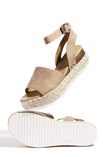SODA Clip Womens Casual Espadrilles Trim Flatform Studded Wedge (6 M US, Natural Taupe Nubuck)