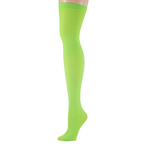 Isadora Paccini Women's Neon Solid Thigh High Stockings, THI12N, green