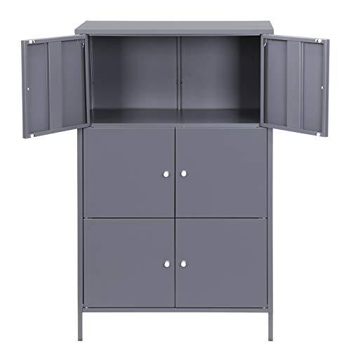 SONGMICS Metal Storage Cabinets with 6 Doors, Multipurpose Storage Locker, 3-Tier Office Cabinets, Max. Load Capacity 33 lb per Tier, Gray UOMC06GB