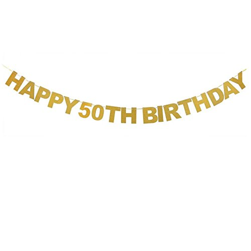 Veewon Feliz 50º Aniversario Banner Gold Glitter Letters Guirnaldas de Bunting 30 Aniversario Aniversario Party Photo Prop Decor