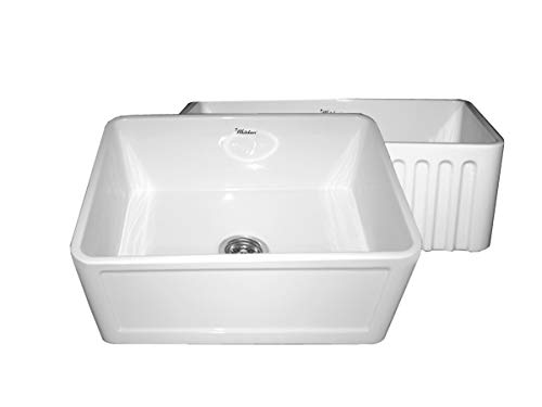 Whitehaus WHFLCON2418 24-Inch Reversible Series Fireclay Sink with Concave Front Apron One Side and Fluted Front Apron on Other Side, White