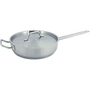 Update International (SSAU-7) 14  Induction Ready Stainless Steel Saute Pan w/Cover