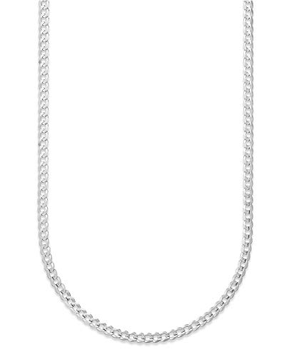 10K Gold 2.3mm Cuban/Curb Link Chain Necklace - Multiple lengths available-Made In Italy- Yellow, White or Rose (White, 20)