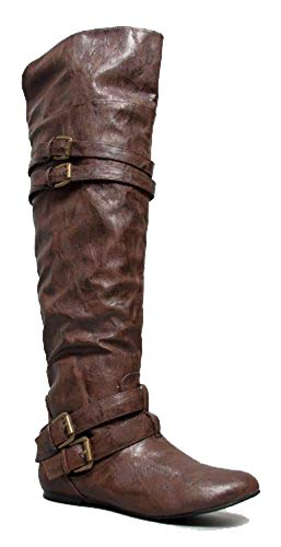 Nature Breeze VICKIE-16HI Double Buckle Over the Knee Thigh High Boot