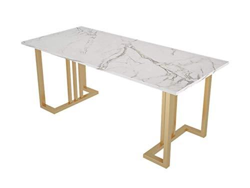 LKU - Mesa de comedor de marmol de luz nordica, diseno de arte de metal para el hogar, la cafeteria, el escritorio, los muebles nordicos de simplicidad moderna