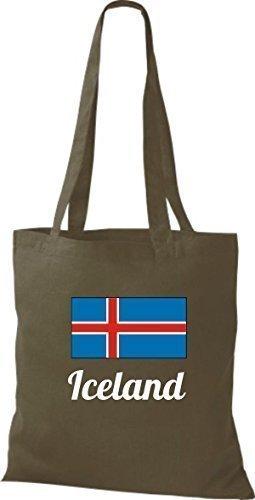 shirtinstyle Tela Bolsa Algodón länderjute Iceland island - fucsia, 38 cm x 42 cm Oliva