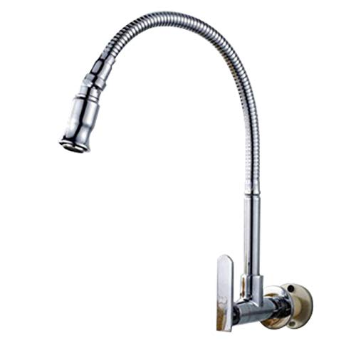 360 Degree Swivel Spout Pull Down Flexible Spray Kitchen Taps Single-tube Vanity vessel Cold water Faucet Chrome Finish Stainless Steel Bathroom Kitchen Sink Faucet Single Handle Wall Mount
