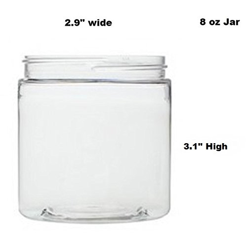 Clear 8 oz Plastic Jars with White Lids 6 pk with Mini Jar – PET Round Refillable Containers