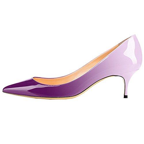 Lovirs Womens Office Slip on Patent Leather Pumps Kitten Heels Pointed Toe Shoes 6.5CM Purple Gradient ycqKLGqg1R