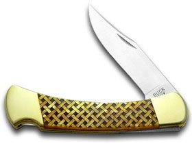 Blade Antique Brass Custom (BUCK 110 Custom Gold Corelon Basketweave 1/400 Folding Hunter Knives)