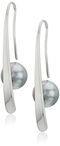 Gray Round Earring - Majorica 10mm Gray Round Pearl Bar Earrings