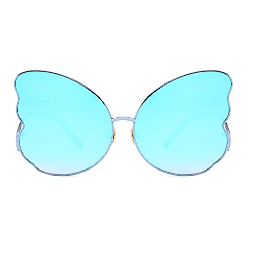 (Armear Oversized Butterfly Shaped Mirrored Sunglasses for Women 2018 Fashion Design (Blue,)