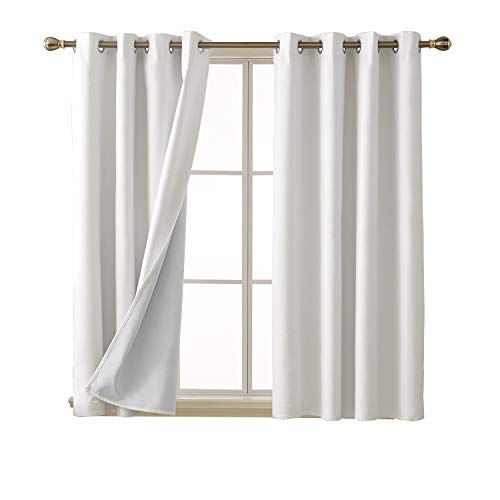 (Deconovo Bedroom White Blackout Curtains with Grommet Energy Saving Thermal Insulated Faux Linen Blackout Curtains for Girls Room 52x54 Inch 2 Panels)