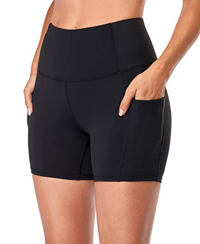 Jugofar Yoga Short Women High Waist Side Pockets Workout Running Athletic Back Pocket Shorts 5""