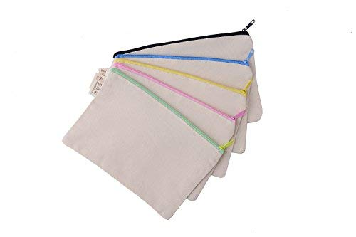 (Large Blank Canvas Pen Pencil Case Stationery Pouch Coin bag Cosmetic Bags, Set of 5)