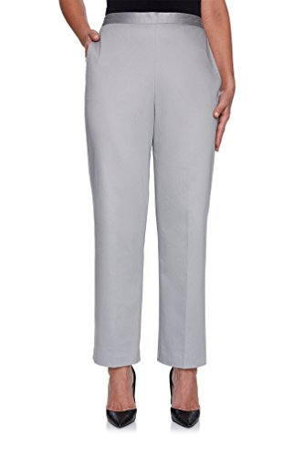 - Alfred Dunner Women's Charleston Solid Proportioned Short Pant (8 Short, Silver)