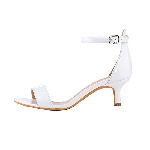 White Leather Strap Sandal (Women's Heeled Sandals Ankle Strap High Heels 5CM Open Toe Low Sandals Bridal Party Shoes Patent Leather White Size 7.5)
