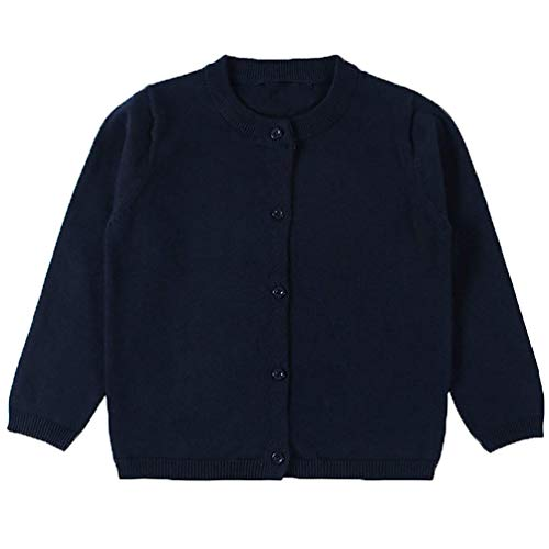 tmas Sweaters Crewneck Knitted Cardigan Long Sleeve Cardigans Navy Blue 2T ()