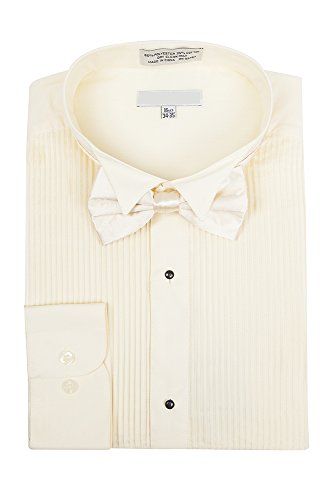 Men's Wingtip Collar Pleated Tuxedo Shirt Bow Tie - Ivory 19.5 36-37