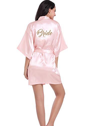 da da Pink Hammia sposa damigella Kimono per donne le bride Abito Corto Camicia Sleepwear per matrimonio Robe d'onore Accappatoio Kimono Donne notte Satin Wedding UBcFrqXaBZ