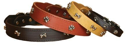 OmniPet Signature Leather Dog Collar with Bone Ornaments,...