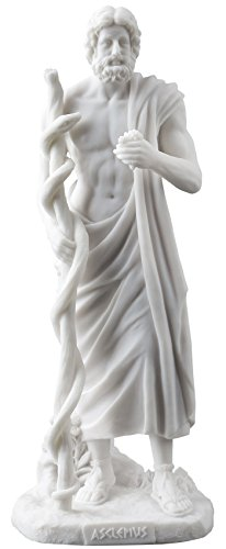 Asclepius Greek God Of Medicine Holding Asklepios Statue