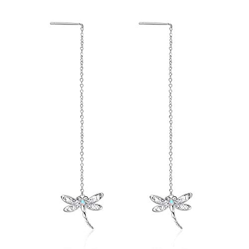 WINNICACA Dragonfly Earrings Sterling Silver Threader Drop Earrings for Women Girls Gifts Jewelry