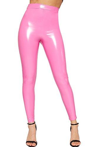 WearAll – Dames nat uiterlijk volledige lengte PVC stretch elastische jeggings dameslegging – 34-40