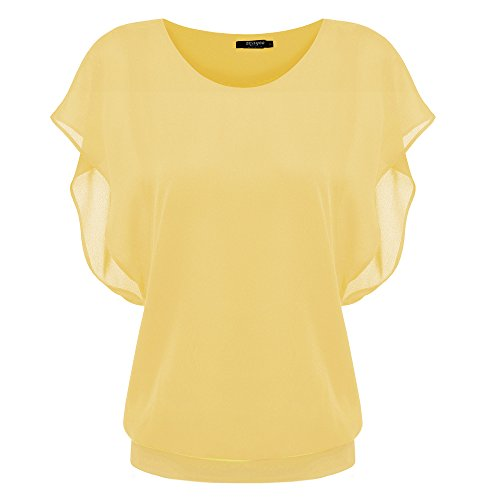 - Zeagoo Women's Loose Casual Short Sleeve Chiffon Top T-shirt Blouse Yellow Small