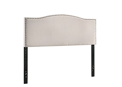 Border Queen Headboard - Furniture World B0263-Q-H Georgia Curved Upholstered Headboard with Nail-Head Accented Border, Queen, Cream (Footboard and Side Rails Sold Separately)