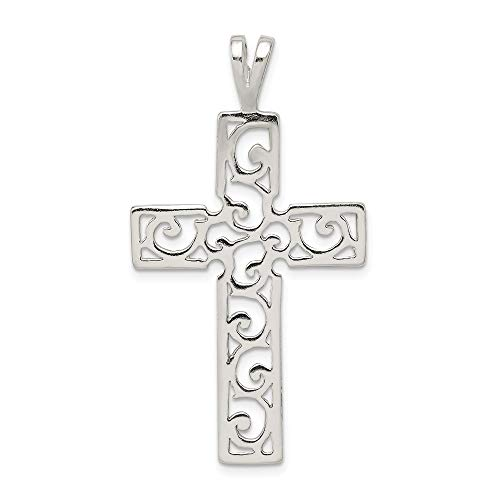 Swirl Cross Charm - 925 Sterling Silver Swirl Cross Religious Pendant Charm Necklace Latin Fine Jewelry Gifts For Women For Her