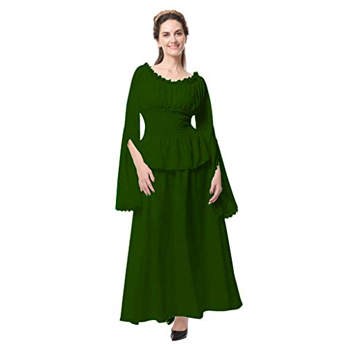 Women Retro Gown Dress Medieval Renaissance Cosplay Vintage Party Club Elegante Costumes Irish Over Maxi Long Dresses Green -