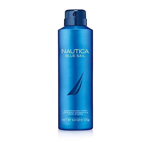 Nautica Blue Sail Deodorizing Body Spray for Men, Great Father's Day Gift, 6 Fluid Ounces Cologne Spray Men Fragrance