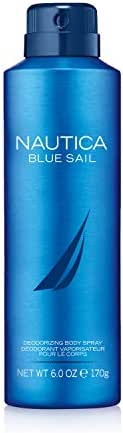 Nautica Blue Sail Deodorizing Body Spray for Men, 6 Fluid Ounces