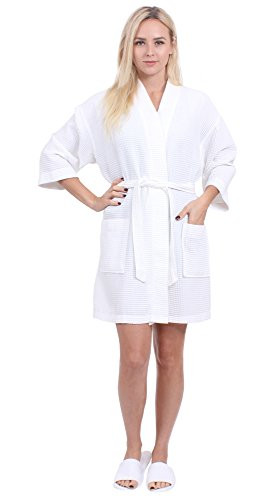 Turkuoise Women's Turkish Cotton Knee Length Lightweight Bridesmaids Waffle Kimono Robe White S/M
