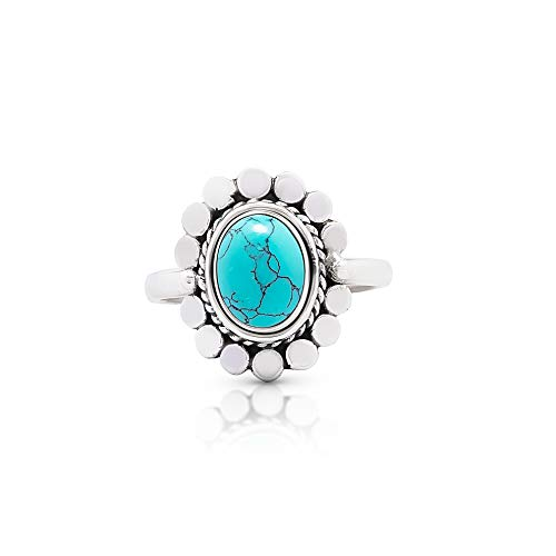 (Koral Jewelry Synthetic Turquoise Vintage Gipsy Ring 925 Sterling Silver Oval Stone Boho Chic (7))