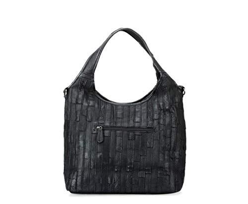 Main Black Couture Cuir Mode Personnalité À Sac Couleur Lady Rayures Une Diagonale Épaule De 1FwavqO
