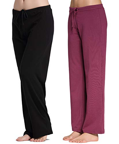 CYZ Women's Casual Stretch Cotton Pajama Pants Simple Lounge Pants-BlackBordeaux2PK-M by CYZ Collection