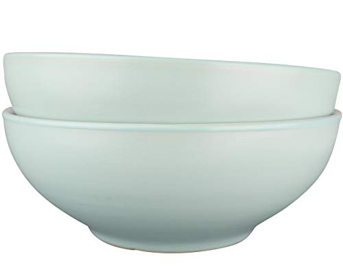 Solid Pasta Bowl - LoveMyBigBowl solid 28 oz 7.25 inch bowl for pasta salad soup noodles cereals. Mint green and white microwave safe. Easy to clean. Stackable set of 2 ...