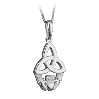 [CJS4197] Sterling Silver Trinity Knot/Claddagh On A Chain