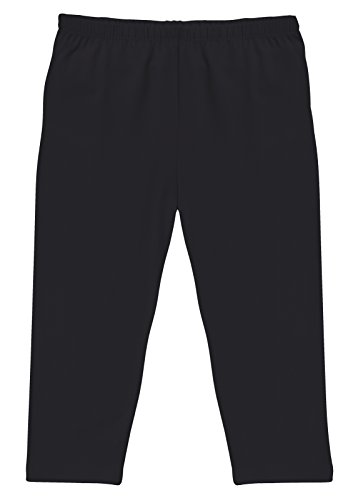 CAOMP Girl's Capri Crop Leggings, Organic Cotton Spandex, School or Play Black 7 / 8 (7 Cropped)