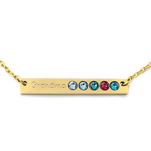 (Personalized Skinny Horizontal Gold Bar Birthstone Necklace Name Plate Custom Silver Gift for Mom)