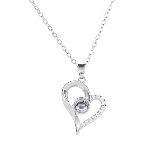 (JULYKI Big I Love You Necklace in 100 Languages Projection Necklace Hollow Heartshape Love Pendant Necklace Elegant Jewelry Gifts (Silver))