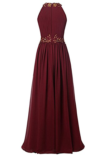 Strass Damen Applikation bodenlang Abendkleid Promkleid Ballkleid aermellos Elegant Neckholder Lila A Falte Linie Ivydressing Chiffon 8Twdq1d