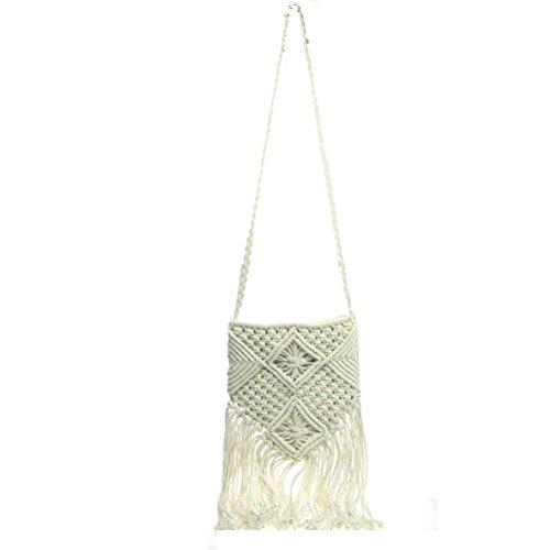 Bohemian Women Out White Bag Shoulder Beach Donalworld Bag Messenger Hollow Crochet Fringed gRfnnTFx