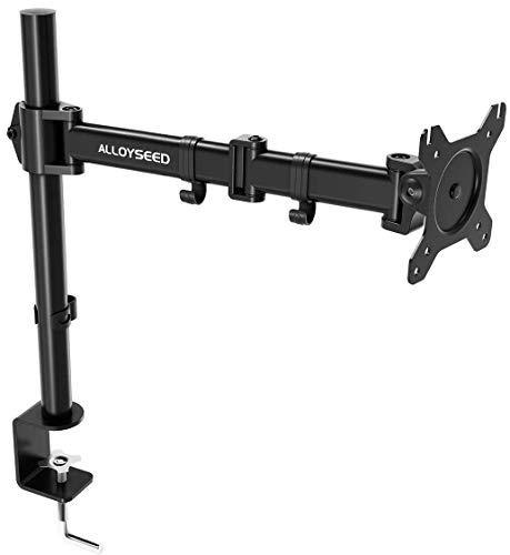 "Single LCD Monitor Desk Mount, Alloyseed Fully Adjustable Stand with Integrated Cable Management, Detachable VESA Plate Fits One Screen up to 27"", 22 lbs, Sturdy C Clamp Base"