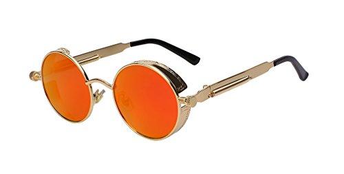 Round Metal Sunglasses Steampunk Men Women Fashion Glasses Retro Vintage Sunglasses UV400 Gold w red ()