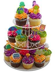 CUPCAKE STAND 3-TIER for Birthday, Wedding, Anniversary and other Occasions to display your small cakes, brownies, tarts, cookies, eclair, macarons, other desserts - Round, Acrylic Dessert -