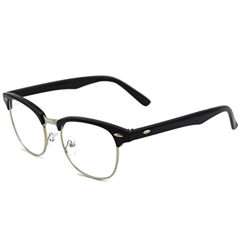 GQUEEN Half Vintage lunettes Frame Black Glossy PF6 Inspiré Clear HHPwr7q